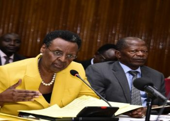 Education Minister, Janet Museveni(L) appearing before the Committee alongside Hon Muyingo (PHOTO/PML Daily)