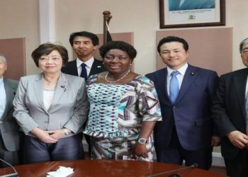 Speaker Kadaga with the delegation of Japanese MPs after their meeting (PHOTO/Courtesy)