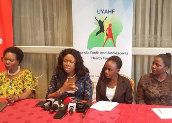 MPs Ann Adeke and Jovah Kamateeka alongside members of Civil Society addressing journalists