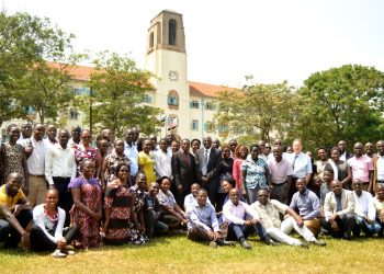 The Director DRGT-Prof. Buyinza Mukadasi (Centre Red Tie) poses for a photo with instructors and PhD Students at the launch of the two-week Advanced Research Methods cross-cutting Course on 20th January 2020, Freedom Square, Makerere University, Kampala Uganda