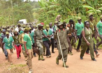 President Museveni walked 28KM as he started his 60mile (100km) symbolic trek from Galamba in Wakiso district to Birembo in Kibaale district (PHOTO/PPU)