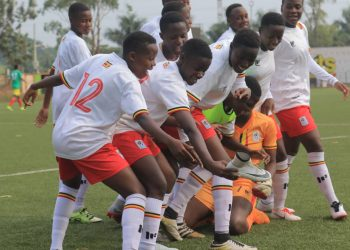 Uganda's players celebrate Juliet Nalukenge's opener against Ethiopia on Saturday. (PHOTO/Courtesy)