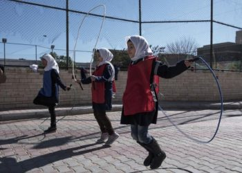 Students skip rope in a playground at El Hadana school in Zanzur, east of Tripoli, Libya (PHOTO/Courtesy).