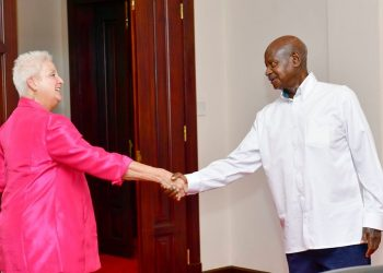 US Ambassador to Uganda Deborah Malac and President Museveni respectively at State House, Entebbe on Thursday (PHOTO/PPU).