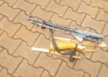 A gun serial number UG POL 12084537 00236 which the deceased attempted to grab from the guard was recovered having been partially damaged by the deceased (PHOTO/Courtesy)