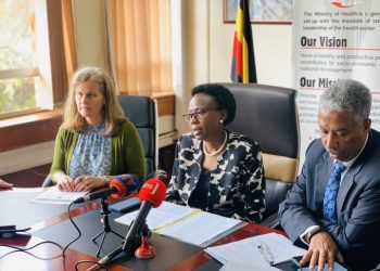 Health minister Dr Jane Ruth Aceng while addressing a joint news conference with WHO officials Friday January 24 at the Ministry's offices in Kampala.