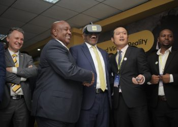 Prime minister of Uganda Rt. Hon. Dr. Rukuhana Rugunda experiencing 5G trial at MTN Uganda premises (PHOTO/PML Daily)