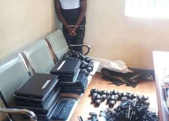 Sulaiman Semakadde, the arrested suspect with the suspected stolen gadgets (PHOTO/POLICE)