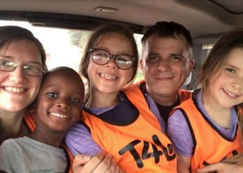 Ziz York with daughters Nia and Robyn on the trip to Uganda (PHOTO/Courtesy)