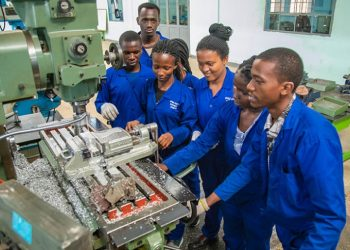 TVET students operate a machine at Kigali Integrated Polytechnic Regional Centre (PHOTO/Courtesy)