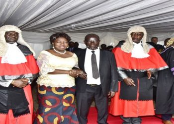 L_R): Deputy Chief Justice, Owiny Dollo, Speaker, Rebecca Kadaga, Vice President, Edward Ssekandi, and the Chief Justice Bart Katureebe at the opening of the New Law Year on Friday 31 January 2020