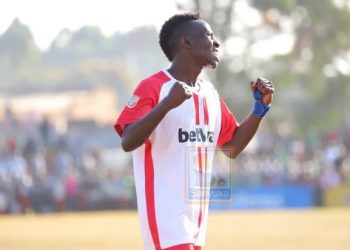 Frank Ssenyondo celebrates after scoring the winning goal for Express against Onduparaka on Friday. (PHOTO/Courtesy)
