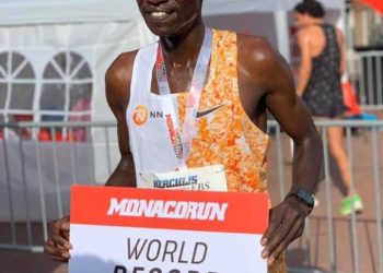 Uganda's Joshua Cheptegei celebrates his massive wine, setting a world 5km record in the Monaco run held in Monaco, France (PHOTO/Courtesy)