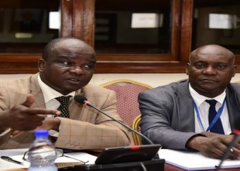Dr Nelson Musoba Director General Uganda AIDS Commission and Dr. Eddie Sefuluya Chair Board while interacting with the Parliamentary Committee on HIV&AIDS (PHOTO/PML Daily)