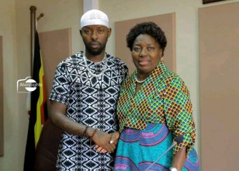Singer Eddy Kenzo poses for a photo with Speaker Kadaga after a meeting on Monday (PHOTO/Courtesy).