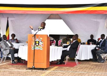 President Museveni and the Commander in Chief speaks during the Thanksgiving in Kololo on Saturday (PHOTO/Courtesy).