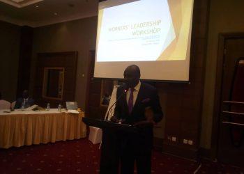 Hon. Arinatwe Rwakajara giving his opening remarks during the workshop at Sheraton Hotel (PHOTO/Sarah Kibisi)