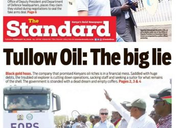 The Standard Newspaper of Kenya, in an expansive inquiry into the company's affairs in it's Tuesday,  February 18 edition holds the company solely responsible for dashing Kenya's oil dream (PHOTO/Screen-grab)
