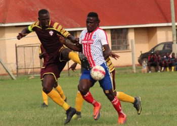 Action between Maroons FC and Busoga United FC on Friday. (PHOTO/Courtesy)