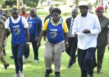President Yoweri Museveni and Speaker of Parliament Rebecca Kadaga at UCU run (PHOTO/Elizabeth Namajja)
