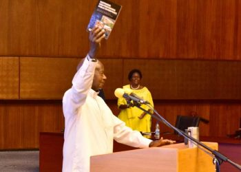 President Museveni launched  Dr. Silver Mugisha's new book on performance of utilities   (PHOTO/Courtesy).