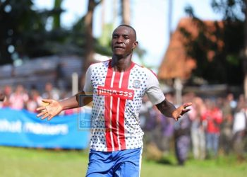 Lawrence Tezikye celebrates after scoring the winning goal on Saturday. (PHOTO/Sanyuka)