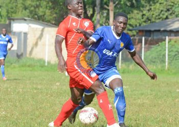 Action between Kyetume FC and URA FC at the Mighty Arena in Jinja on Saturday. (PHOTO/URA FC)
