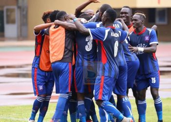 SC Villa players celebrate after scoring against Onduparaka FC at Namboole on Wednesday. (PHOTO/Sanyuka)
