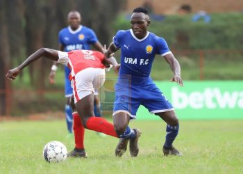 Action between Express FC and URA FC at Mutessa II Stadium in Wankulukuku on Tuesday afternoon. (PHOTO/Sanyuka TV)