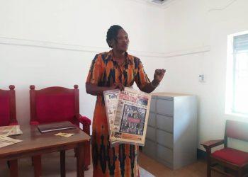 Judith Ineku marketing executive at enterprise uganda while chairing the preparatory meeting for the workshop at Nyarushanje sub county head quarters on Thursday February 13 (PHOTO/Micah Kamusiime)