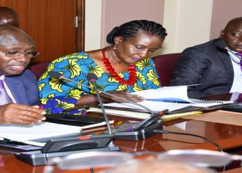 Agrictulre minister Bright  Rwamirama(L), Trade minister Kyambadde Kyambadde (C) and Hon Ssewungu during the meeting with the Speaker (PHOTO/PML Daily)