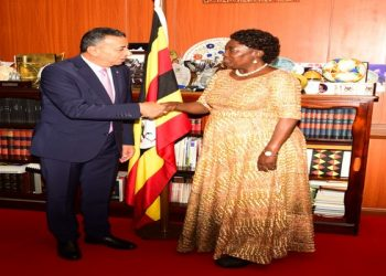 Kadaga with the Ambassador of Jordan to East Africa
