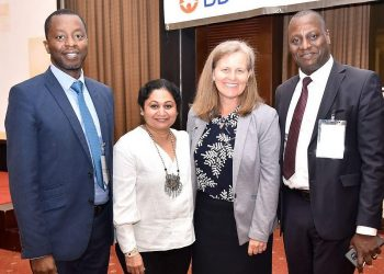 L-R: Dr Mohamed Larmode-IDI, Renuka Gadde-Vice President, Global Health, BD, Dr. Lisa Nelson-CDC Uganda Mission Director and Dr. Andrew Kambugu-Executive Director at IDI at the Launch on 17th February 2020, Kampala Uganda. (Photo/Courtesy)