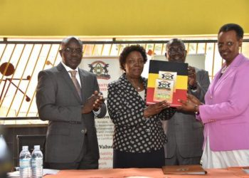 The Minister of Education and Sports, Hon Janet K Museveni (R) officiates at the release of 2019 PLE results (PHOTO/File)