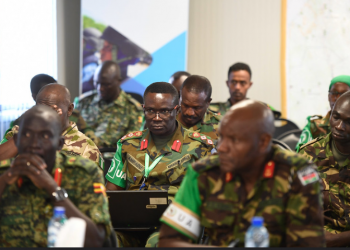 Senior military officers of the African Union Mission in Somalia (AMISOM), attend the opening session of AMISOM sector commanders' conference in Mogadishu, Somalia (PHOTO/AMISOM)
