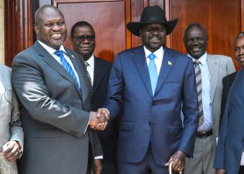South Sudan's President Salva Kiir (centre) and opposition leader Dr. Riek Machar met on 11 September 2019 in Juba. This was their second face-to-face meeting.