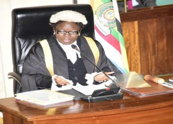 The speaker of Parliament, Rebecca Kadaga chairing the 15th sitting this afternoon at Parliament (PHOTO/Sarah kibisi)