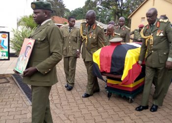 Top army officers carry a casket of Gen Biraaro at a funeral service held at All Saints Cathedral Nakasero (PHOTO/Abraham Mutalyebwa)