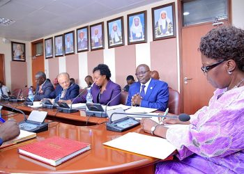 Tondeka bus compony team lead by Chairperson board, Dr. Patrick Kimbowa in ameeting with speaker of Parliament Rt. Hon. Rebecca Kadaga (PHOTO/PML Daily)
