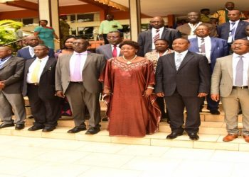 Kadaga (Front centre) with other delegates to the conference at the Serena Hotel (PHOTO/Courtesy)