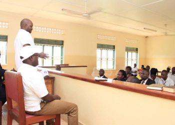 the Communications team led by the Principal Communications Officer, Mr Solomon Muyita, and Kayunga Grade One Magistrates Wilson Wandera and Irene Akello sensitized court users on Sentencing Guidelines, Plea Bargaining, Mediation and Small Claims Procedure (PHOTO/Courtesy)