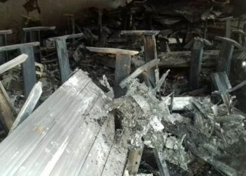 A massive fire raged Ham Shopping Centre in downtown Kampala, destroying property worthy million (PHOTO/Daily Monitor)