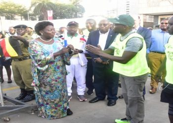 Speaker Kadaga flags off a run aimed at restoring tree cover at South Wing Parking of Parliament (PHOTO/File)