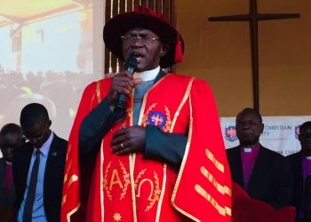 The Vice Chancellor of UCU Rev. Canon Dr. John Senyonyi presiding over the graduation in Nkoyoyo hall in Mukono campus (PHOTO/Elizabeth Namajja)