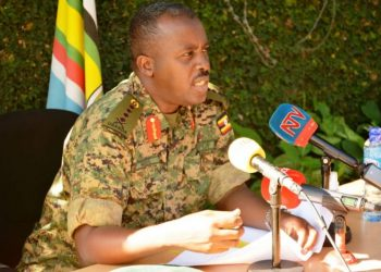 Army Chief Gen David Muhoozi speaking to the media (PHOTO/File).