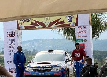 Hassan Alwi (R) and his Navigator Joseph Kamya (L) after winning the IUEA Jinja Rally. (PHOTO/Courtesy)
