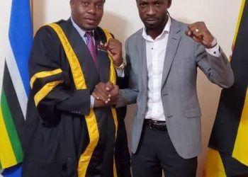 Bobi Wine and KCCA Speaker Kawalya at People Power offices (PHOTO/Courtesy)