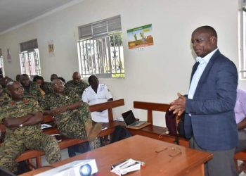 Ministry of Health official educating UPDF officers on deadly coronavirus on Monday (PHOTO/Courtesy).