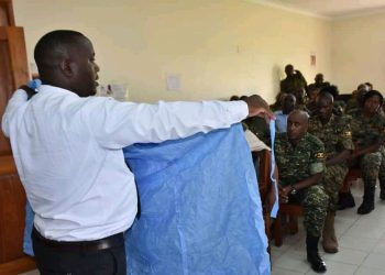 The UPDF medical personnel being lectured on Coronavirus prevention measures (PHOTO/Courtesy).