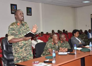 The Chief of Defence Forces (CDF) Gen. David Muhoozi in his remarks thanked the Ministry of Health for coming in at a very crucial time to work with the UPDF on how to combat the Pandemic (PHOTO/Courtesy)
